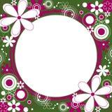 Trame carrée florale en vert et magenta Photographie stock
