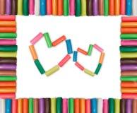 Trame colorée de 2 coeurs Photographie stock