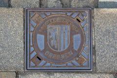 Trame con el escudo de armas de Dresden, Alemania Fotos de archivo libres de regalías
