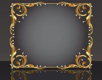 Trame décorative avec la perle d'or de configuration Photographie stock