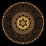 Trame décorative d'or avec les configurations rondes de cru sur le noir Photo stock