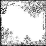 Trame décorative florale de type de cru et d'oiseau illustration libre de droits