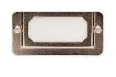 Trame d'étiquette blanc de fichier en métal sur le blanc Photos stock