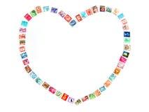 Trame d'amour avec les estampilles postales Image stock