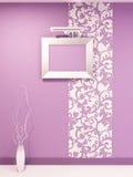 Trame d'Epmty pour la photo sur le mur violet dicorative Photographie stock libre de droits