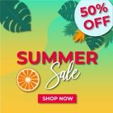 Trame de bannière avec la vente-réclame d'été Photo stock