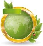 Trame de cercle d'or avec la lame et le globe verts Photographie stock