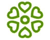 Trame de coeur d'amour d'herbe verte d'isolement Photo libre de droits