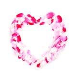 Trame de coeur des pétales roses Image libre de droits