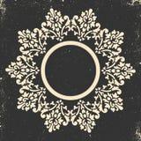 Trame de cru Modèle baroque circulaire Ornement floral rond Carte de voeux Invitation de mariage Rétro type Templat de logo de ve illustration stock