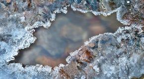 Trame de glace au-dessus de groupe gelé de l'hiver de fleuve Photo libre de droits
