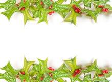 Trame de houx de Noël d'isolement images stock