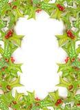 Trame de houx de Noël d'isolement photo stock