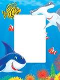 Trame de mer avec des requins et des poissons Images libres de droits