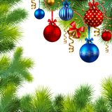 Trame de Noël avec les babioles et l'arbre de Noël Photo libre de droits