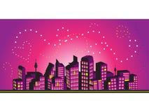 Trame de paysage urbain, silhouettes illustration libre de droits