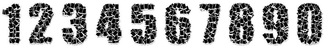 Trame de photo d'alphabet de numéro sur le fond blanc Image stock