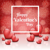 Trame de Valentine avec les coeurs rouges Images libres de droits