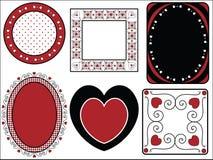 Trame de Valentine des étiquettes avec la garniture de guingan Photographie stock