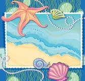 Trame de vecteur avec une illustration d'une onde de mer illustration de vecteur