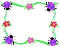 Trame des coccinelles, des fleurs, et des boucles pourprées illustration stock