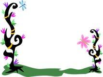 Trame des usines de tatouage, fleurs, boucles, libellule, illustration de vecteur