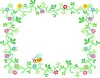 Trame des vignes, des fleurs, et d'abeille de jardin abondant illustration stock