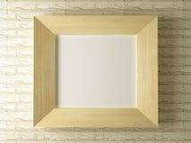 Trame en bois contre un contexte de mur de briques Image stock