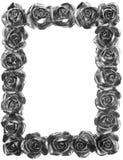 Trame fleurie de Rose en métal argenté Photographie stock