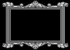 Trame fleurie noire et blanche de cru Photo stock