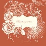 Trame florale avec les fleurs tirées par la main Image libre de droits