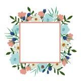 Trame florale Couverture de vintage de bouquet de fleur Épanouissez-vous la carte avec avec l'endroit pour votre texte illustration de vecteur