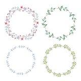 Trame florale Ensemble de fleurs mignonnes d'aquarelle Photos stock