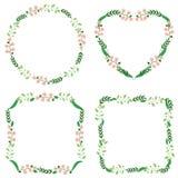 Trame florale Rétros fleurs mignonnes de la guirlande parfaite pour des invitations et des cartes illustration stock
