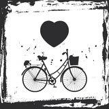 Trame grunge abstraite allez à vélo la silhouette et le coeur sur le fond blanc, calibre pour votre conception Vecteur Photo stock
