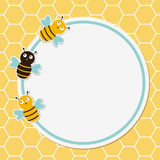 Trame mignonne d'abeilles Photos stock