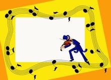Trame musicale avec le violoniste Photo stock