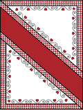 Trame ou étiquette de Valentine avec la garniture de guingan Photo stock