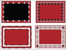 Trame ou étiquettes de Valentine avec la garniture de guingan Photo libre de droits