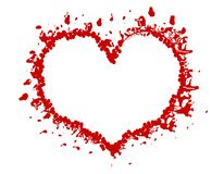 Trame ou cadre grunge rouge de coeur de Valentine Images stock