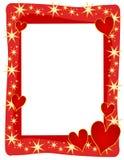 Trame ou cadre rouge d'étoiles de coeurs illustration libre de droits