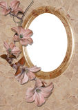 Trame ovale avec la fleur Photos stock