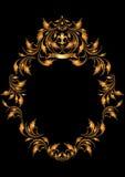 Trame ovale d'or dans le type gothique. Vue. Image stock