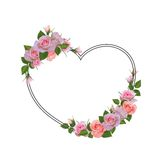 Trame romantique avec des fleurs Endroit pour le texte, citation Photo stock