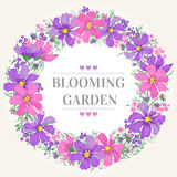 Trame ronde avec des fleurs Image libre de droits