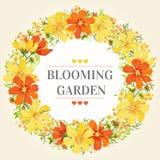 Trame ronde avec des fleurs Images stock