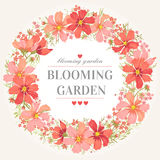 Trame ronde avec des fleurs illustration stock