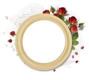 Trame ronde avec des roses Photo stock