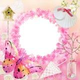 Trame rose de photo Bannière pour la fête de naissance illustration de vecteur