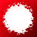 Trame rouge de coeur Cadre de confettis de coeur pour la bannière Fond de jour de valentines Illustration de vecteur Photographie stock libre de droits